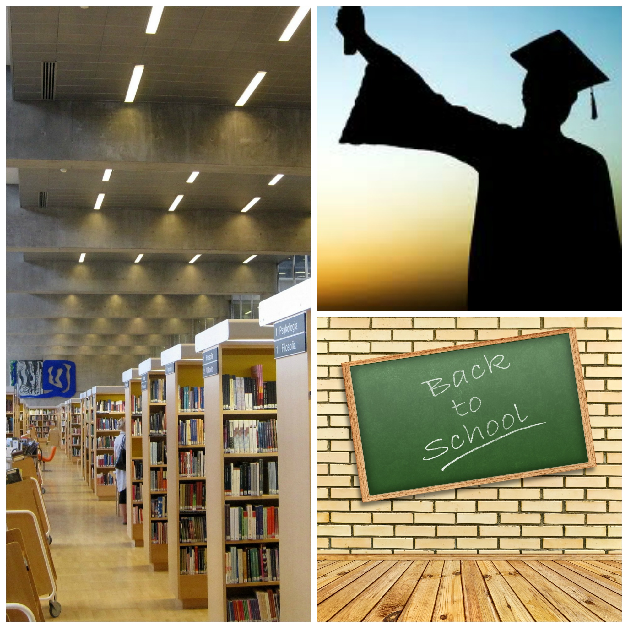 Education - scene of library shelves, blackboard saying back to school, man in shadow in graduation gown holding diploma