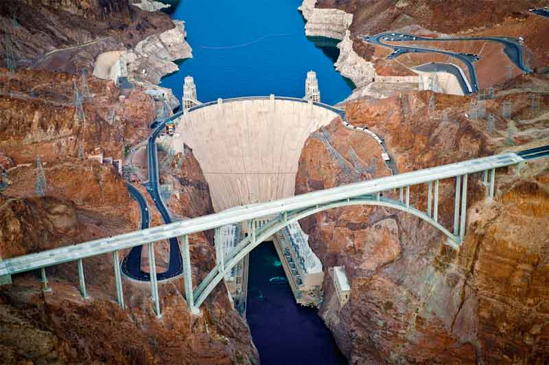 A stunning aerial view of the Hoover Dam