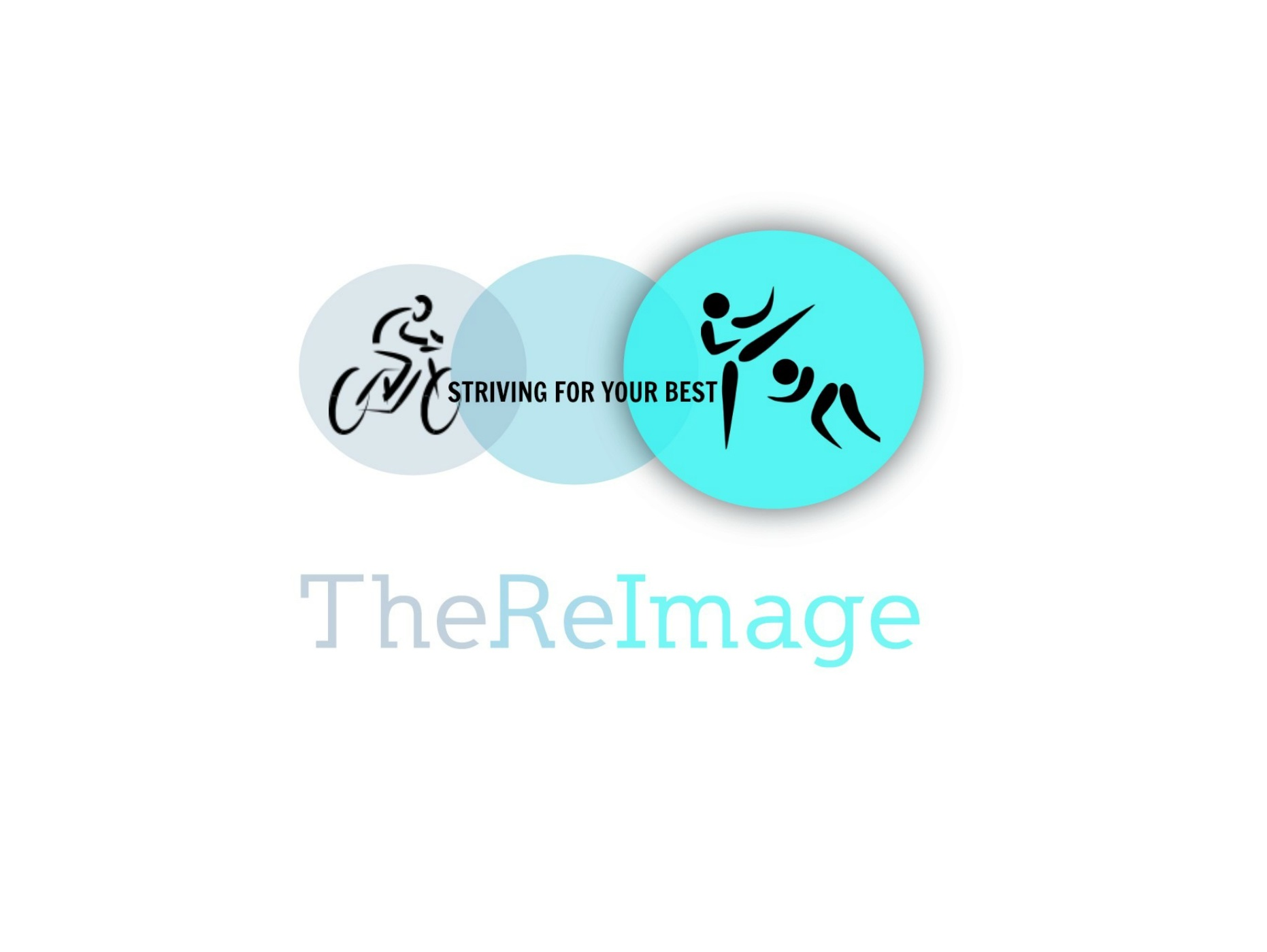 TheReImage Logo including a image of a bicyclist inside the left lightest circle along with two people in a martial arts pose in the right darkest circle both drawn in calligraphy style.