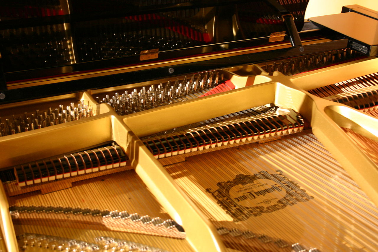 the piano lid is open displaying the inners.
